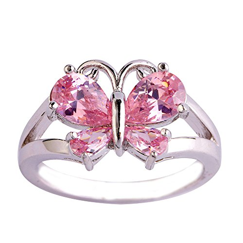 Empsoul 925 Sterling Silver Natural Stunning Filled Butterfly Pink Topaz Proposal Engagement Ring