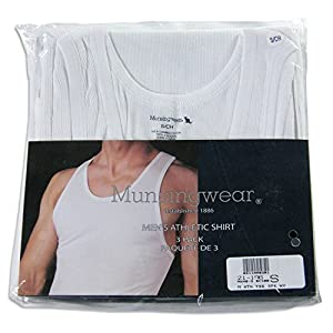 3-Pack Munsingwear Men's Athletic Tank Top Shirt, White Large