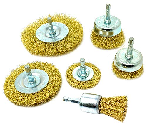 - 6 Pack Wire Brush Attachments Kit for Drill, Brass-Coated Bristles