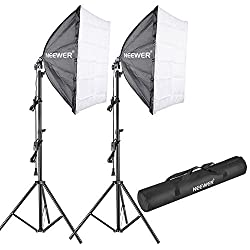 Neewer 700w 5500k Photography Studio Softbox Lighting Kit: (2)24x24 Inches60x60 Centimeters Softbox Diffuser, (2)85w 5500k Continuous Light Bulb, (2)75-inch Light Stand, (1)carrying Bag