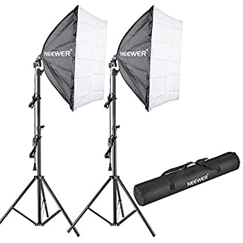 Neewer 700w 5500k Photography Studio Softbox Lighting Kit: (2)24x24 Inches60x60 Centimeters Softbox Diffuser, (2)85w 5500k Continuous Light Bulb, (2)75-inch Light Stand, (1)carrying Bag 0