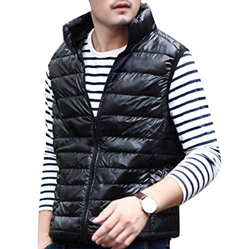 Men's Jacket Gocgt Collar Black Casual Coat Stand Vest Lightweight Down 6xdB8qxAw