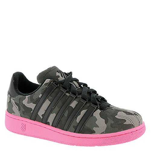 K-Swiss Women's Classic VN Camo Glam Fashion Sneaker, Black/Pewter/Neon Red, 8.5 M US