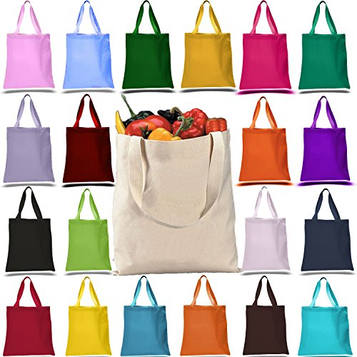 Promotional Heavy Canvas Reusable Grocery Tote Bag (PACK OF 12, MIX-ASSORTED-COLORS) (Canvas Promotional Tote Bags)