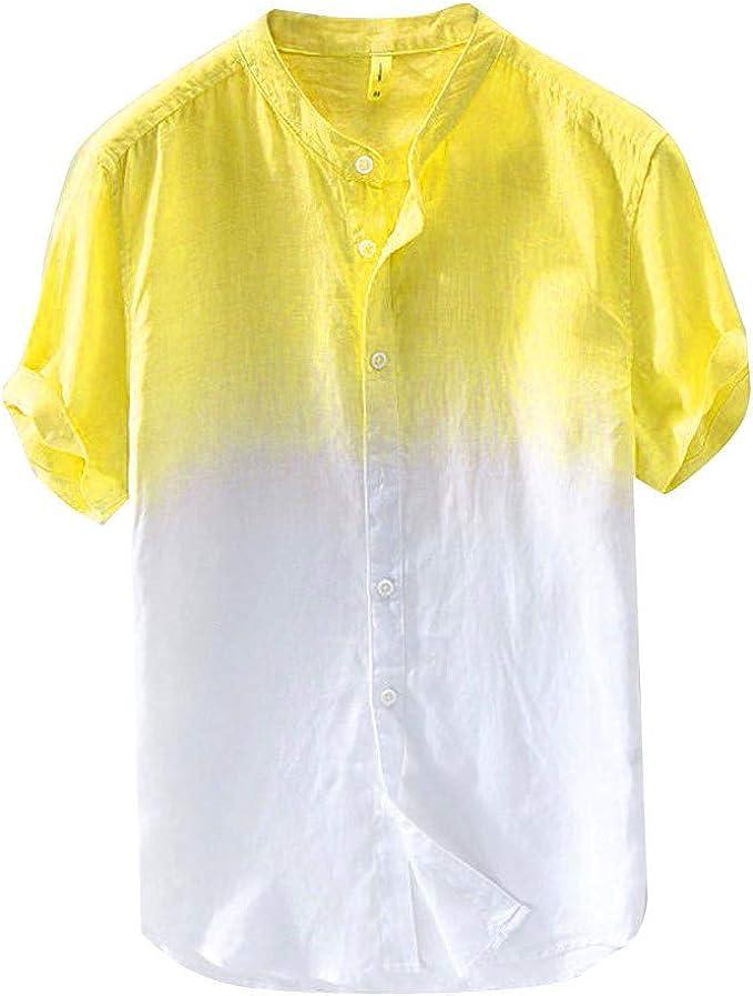 Skang Polos Manga Corta Hombre Degradado Estampado Transpirable Cuello Mao con Botones Blusa Camiseta para Hombre Verano 3XL: Amazon.es: Ropa y accesorios