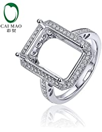 Wholesale 14K White Gold 0.24ct SI1 Diamond 8x13mm Emerald Cut Semi Mount Ring Setting