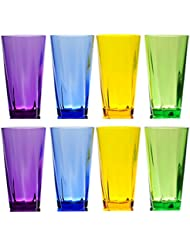 qg set of 8 acrylic 21ounce colorful twist iced tea cup with heavy base plastic tumbler set in 4 assorted colors sl1314c