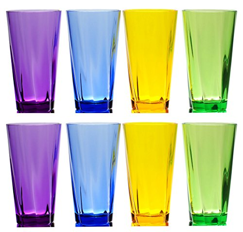 QG Set of 8 Break-Resistant Acrylic 21-Ounce Colorful Twist Iced Tea Cup with Heavy Base Plastic Tumbler Set in 4 Assorted Colors SL131-4C