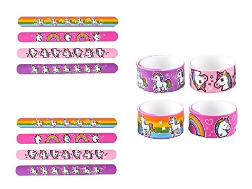 Novelty Treasures Set of 12 Beautiful Silicone Unicorn and Rainbow Slap Bracelets Birthday Party Favor Goody Bag Toy ()