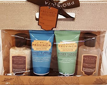 La Bella Provincia 4 Piece Body Care Gift Set in Woven Canvas Bag, Honey Vanilla