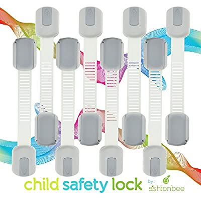 Child Safety Locks - Best Latches for Baby Proofing Cabinets, Drawers, Cupboards, Doors, Fridge. Childproof Adjustable Straps by Ashtonbee (8 Pack)