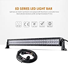 "Auxbeam 32"" 180W LED Light Bar 5D Lens Driving Light 60pcs 3W CREE Chips 18000lm 6500K Combo Beam with Wiring Harness"