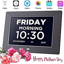 Day Clock Extra Large Impaired Vision Digital Clock Dementia with Time, Day and Date, Month and Year showing, Calendar/Photo Display Function, Perfect Gift for Elderly, Memory Loss, Mothers Day Gift