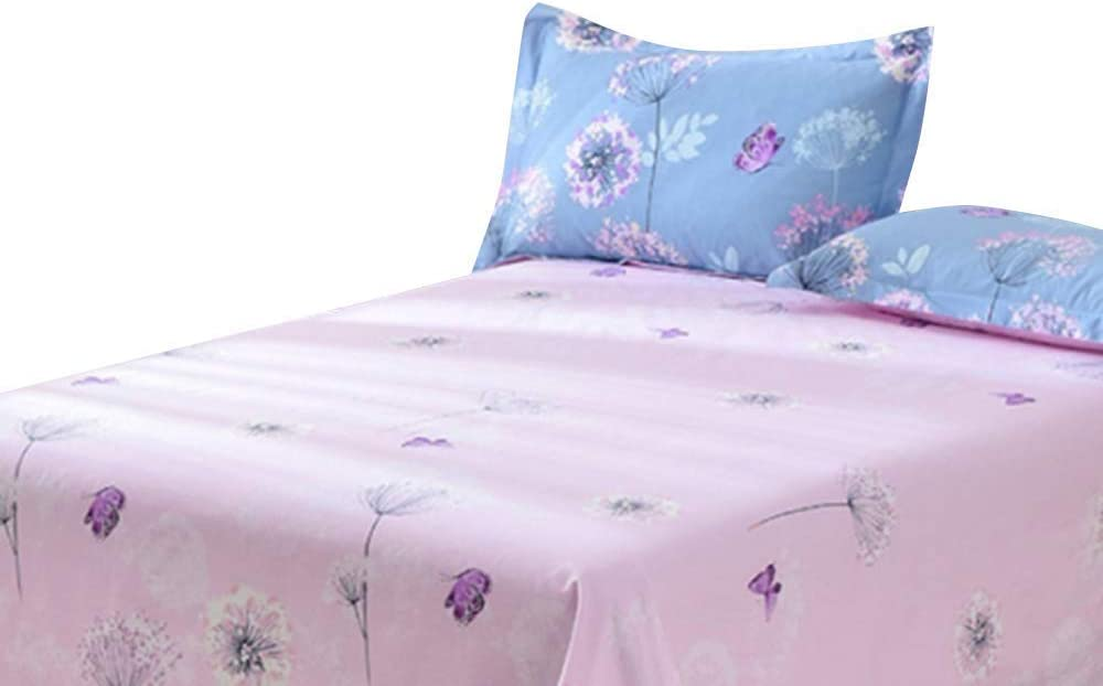 EnjoyBridal Dandelion Kids Bed Sheet Twin 100% Cotton Teens Fitted Sheet Twin with Deep Pocket Super Soft Lilac Bottom Sheet for Boys Girls Women