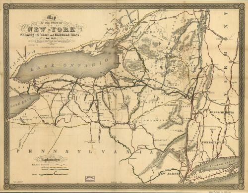 Map of the state of New-York showing its water and rail road lines. Jan 1855, by direction of John T. Clark State Engineer & Surveyor. Publication Date: 1855|Notes: Scale ca. - One Locator Shop Best