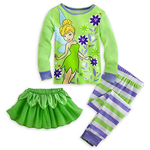 Disney Store Tinker Bell Tinkerbell Deluxe PJ Pajama W/ Tutu Size 6 6X Wings