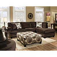 Chelsea Home Furniture Rayna 2-Piece Sectional, Groovy Chocolate/Big Swirl Chocolate