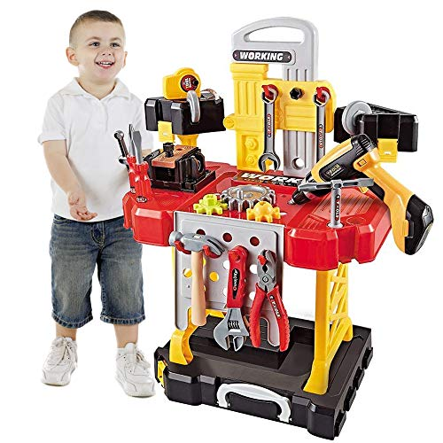 Young Choi's Toy Power Workbench, kids Power Tool Bench Construction Set with Tools Electric Drill and Toy Helmet, 91 Pieces Toddlers Toy Shop Tools for Boys