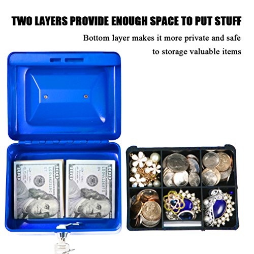 Jssmst Small Locking Cash Box with Money Tray, Lock Money Box for Kids Blue, 5.9 x 4.7 x 3.2 inches, CB013-L by Jssmst (Image #2)