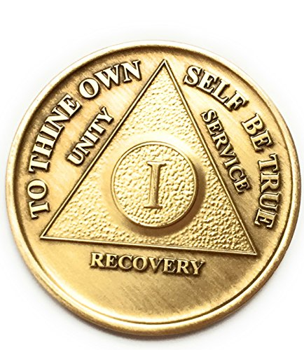 1 Year Bronze AA (Alcoholics Anonymous) Birthday - Anniversary Recovery Medallion/Coin/Chip Model: