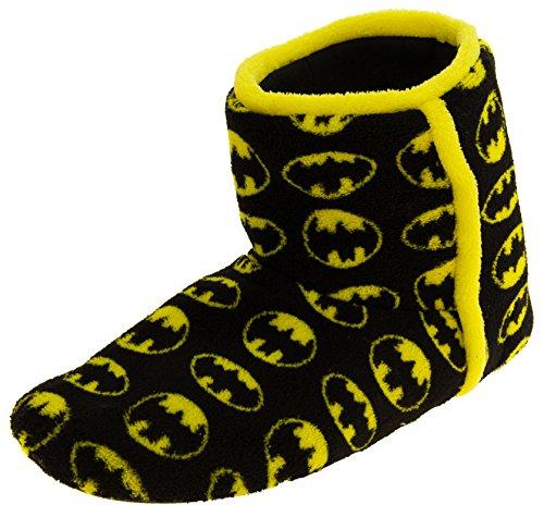 DC Comics Mens Batman Black Textile Fleece Warm Boot Slippers 12 D(M) US