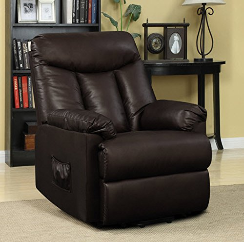 Best Home ProLounger Lya Modern Brown Renu Leather Power Recline and Lift Wall Hugger Chair