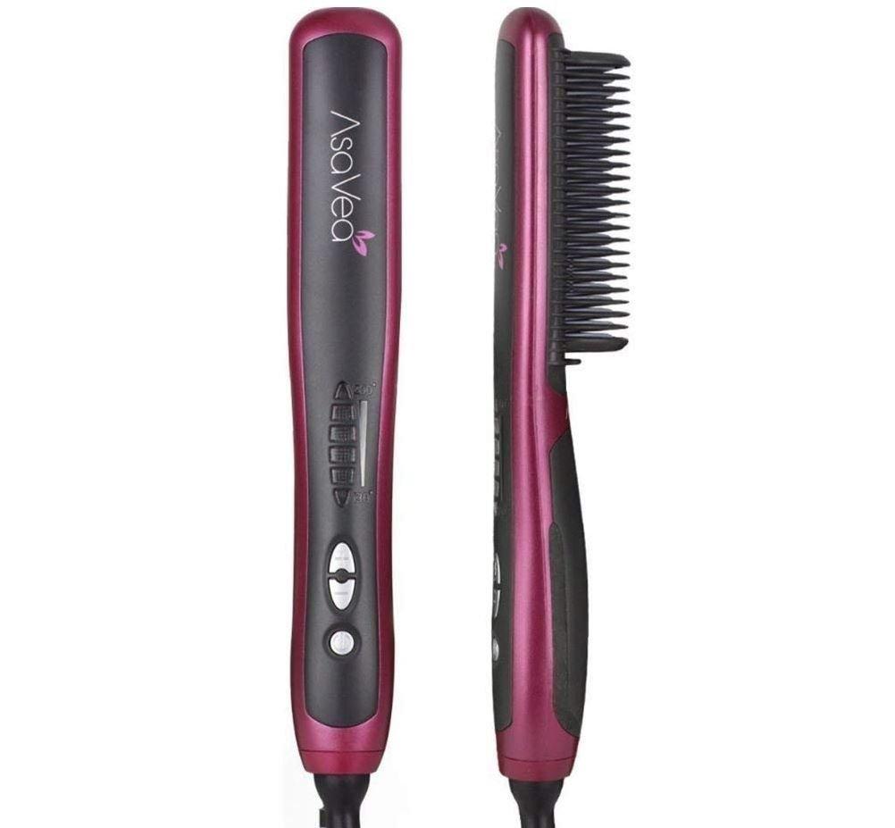 AsaVea Hair Straightening Brush 2, Anti-scald Patented Design, PTC Heating Technology, 30 Mins Auto Shut Off, Great Styler At Home, Red/Black