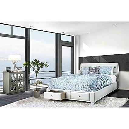 Amazon.com: DEMI Bedroom Furniture Contemporary White Queen Size Bed ...