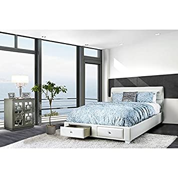 Amazon.com: DEMI Bedroom Furniture Contemporary White Queen Size Bed ...