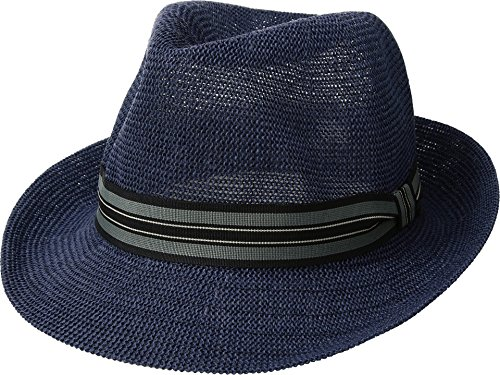 San Diego Hat Company Men's Striped Grosgrain Knitted Paper Fedora Hat, Navy, L/XL