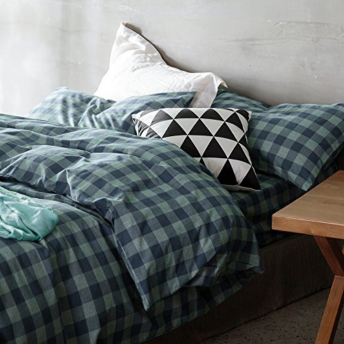 HIGHBUY Turquoise Teal Plaid Bedding Duvet Cover Set Queen f
