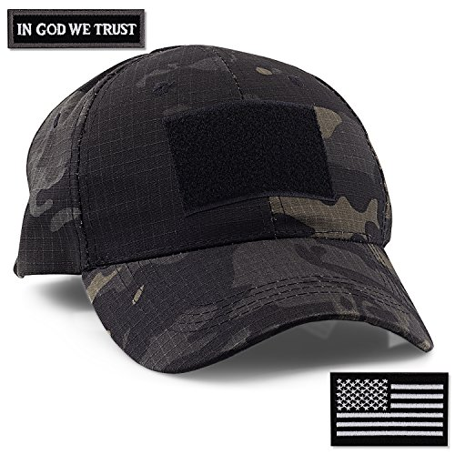 STEVEN G Tactical Military Hat Adjustable Baseball Cap 6 Vent Holes USA Flag for Hunting Fishing Hiking Outdoor Life Men Women Teens Fits Most Head Sizes 2 Interchangeable Patches Included, Black (American Flag Made Of Baseballs For Sale)