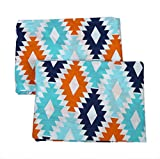 Bacati Liam Aztec Kilim Cotton Percale Crib/Toddler Bed Fitted Sheets 2 Piece, Aqua/Orange/Navy