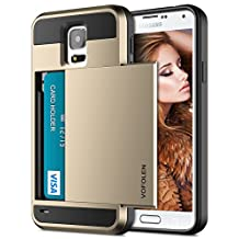 Galaxy S5 Case, Vofolen Galaxy S5 Wallet Case Shock Absorption Rubber Soft Bumper Cover Hybrid Anti-Scratch Armor Protective Shell with Slide Card Holder Slot for Samsung Galaxy S5 - Gold