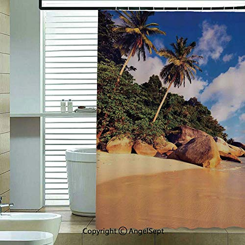 - Fashion Shower Curtain,Tropical-Beach-Serenity-in-Nature-Exotic-Fruit-Coconut-Rock-Seascape-Print,70.8x72 inch,Bathroom Decor,Green-Brown