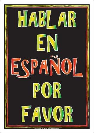 Amazon.com: Hablar en español por favor Cartel: Industrial ...