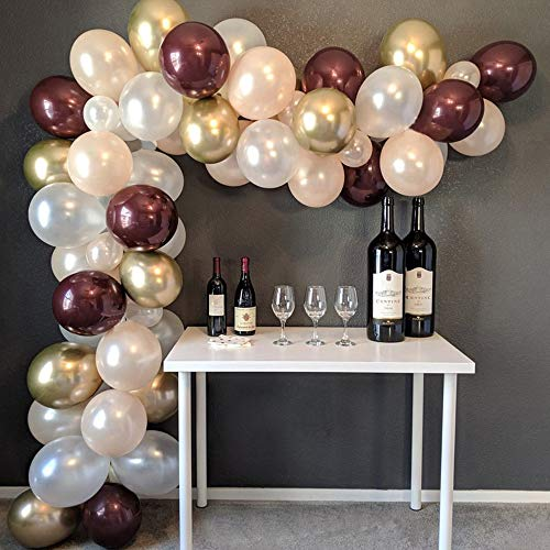 Balloon Arch & Garland Kit - Burgundy & White & Gold 16Ft 109 Pcs Latex Balloons for Wedding, Baby Shower, Graduation Party Background Decorations (Balloon Wine)