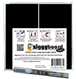 Ziggyboard Chalkboard Tub, Tote and Storage Labels with Fine Tip White Chalk Marker 6.25x3.5 Inches 8 Large Rectangle Shape Stickers