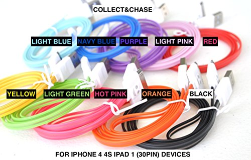 - C&C BLUE/LED LIGHTS 3FT Charger data/sync cable For iPhone 4s,4,3g, 3gs, iPod classic, nano 1 2 3 4, touch 4, iPad 1st gen, iPod shuffle (ORANGE)