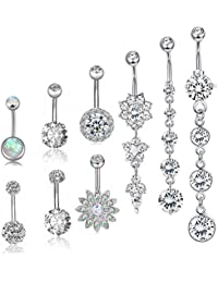 10 Pcs Surgical Steel Dangle Belly Button Rings for Women Girls Curved Navel Barbell Body Jewelry Piercing