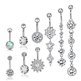 Besteel 9 Pcs 14G Stainless Steel Dangle Belly Button Rings for Women Girls Navel Rings CZ Body Piercing Sliver-Tone