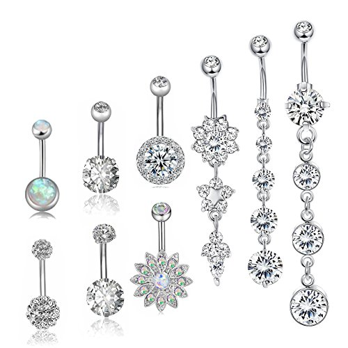 Besteel 9 Pcs 14G Stainless Steel Dangle Belly Button Rings for Women Girls Navel Rings CZ Body Piercing ()