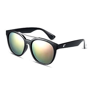 HMILYDYK Premium Polaroid lentes Gafas de sol retro vintage espejo redondo Oval de las mujeres de