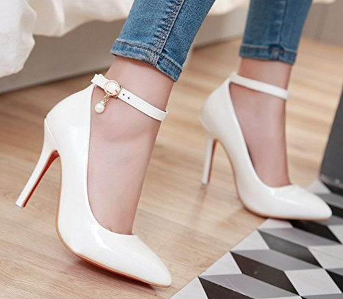 Perles Cheville Haut Blanc Elégant Femme Bride Easemax Escarpins Talon IvTxwf
