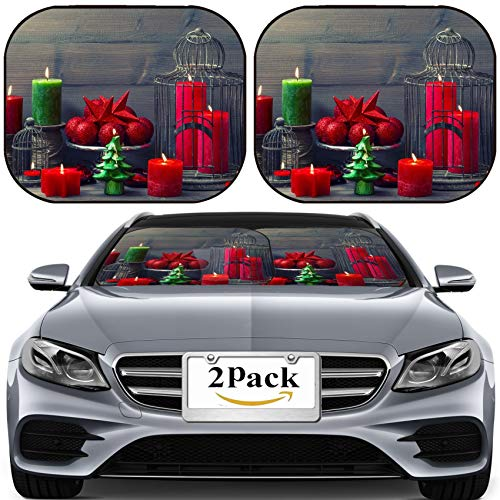 MSD Car Sun Shade for Windshield Universal Fit 2 Pack Sunshade, Block Sun Glare, UV and Heat, Protect Car Interior, Image ID 33334463 Vintage Christmas Background with Birdcage Burning Candles