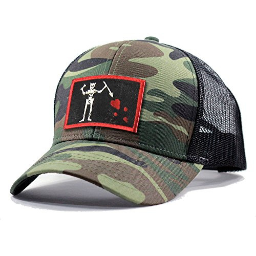 Homeland Tees Men's Blackbeard Pirate Flag Patch Army Camo Trucker Hat - Army Camo -