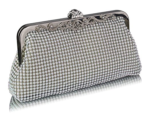 Handbag New For Style White Chain Womens Crystal Bag With Beaded 1 clutch Purse Pearl Evening Designer Design FaSzYqv