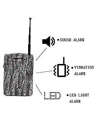 bestguarder SY-007PLUS - Sistema de alarma inalámbrico o inalámbrico de caza y seguridad con sonido vibración luz LED, color gris