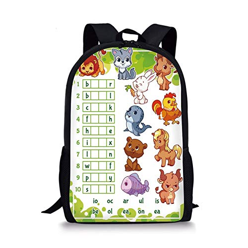 School Bags Word Search Puzzle,Rebus Game with Animals for Preschool Kids Find Correct Part of Words Decorative,Multicolor for Boys&Girls Mens Sport Daypack -