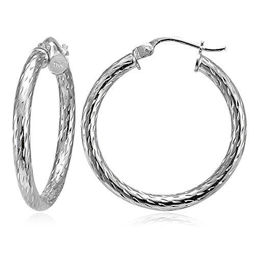 (Hoops & Loops Sterling Silver 2.5mm Diamond-Cut Round Hoop Earrings, 35mm)